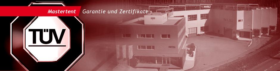 Mastertent Fabrik und TÜV Logo